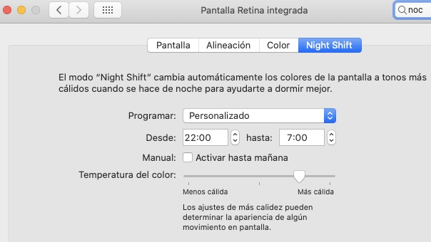 Activar Night Shift